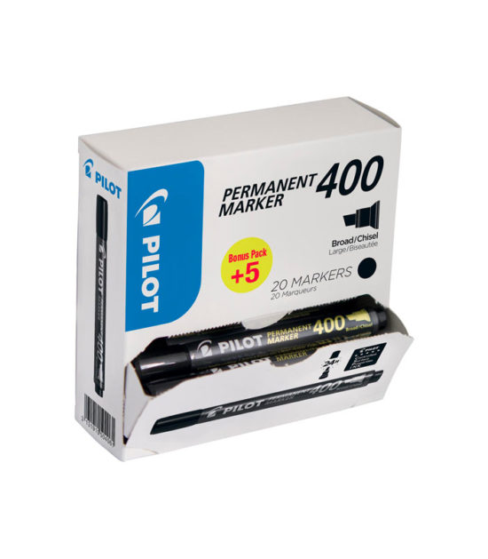 Marqueur permanent 400, boîte de 15 + 5 pièces Noir – PILOT